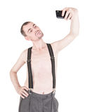 Funny naked man taking selfie isolated Royalty Free Stock Photos