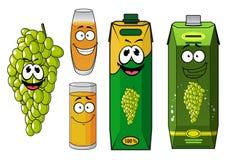 Funny natural green grape fruit and juice cartoon Stock Photos