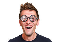 Funny nerd. Isolated on white background stock photography