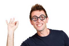 Funny nerd. Isolated on white background Stock Image