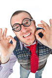Funny nerd. Isolated on white background Royalty Free Stock Image