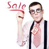 Funny Nerd Advertising A Store Sale Royalty Free Stock Images