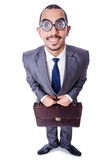 Funny nerd businessman. Isolated on white Royalty Free Stock Photography