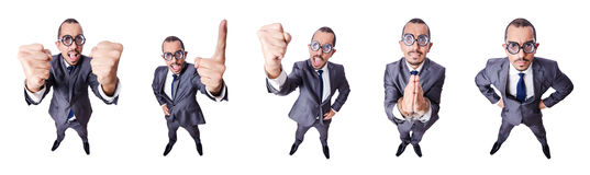 The funny nerd businessman isolated on white Royalty Free Stock Photo