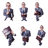The funny nerd businessman isolated on white Royalty Free Stock Photos