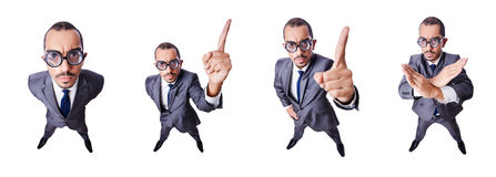The funny nerd businessman isolated on white Stock Photography
