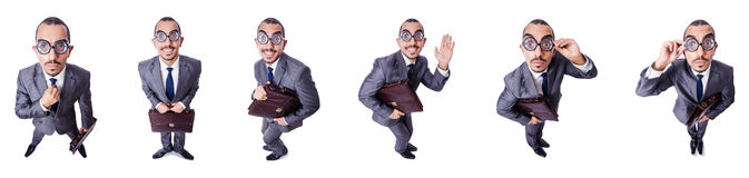 The funny nerd businessman isolated on white Stock Images