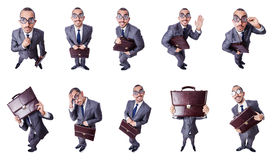 The funny nerd businessman isolated on white Royalty Free Stock Photography