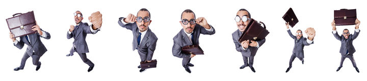 The funny nerd businessman isolated on white Stock Photo