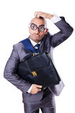 Funny nerd businessman. On the white Royalty Free Stock Photography