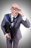 Funny nerd businessman. On the white Stock Photos
