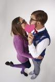 Funny nerd couple Stock Photos