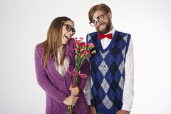 Funny nerd couple Stock Photography