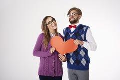 Funny nerd couple Royalty Free Stock Image