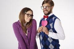 Funny nerd couple Royalty Free Stock Photos