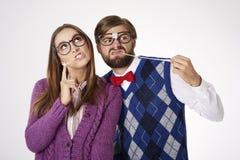 Funny nerd couple Stock Photo
