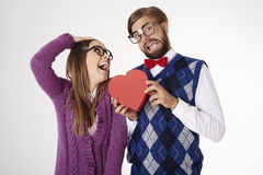 Funny nerd couple royalty free stock photography