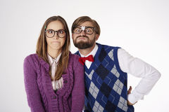 Funny nerd couple Royalty Free Stock Images