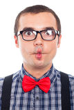 Funny nerd face. Close up of crazy nerd man making funny face, isolated on white background royalty free stock images