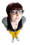 Funny nerd girl Stock Photos