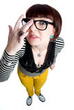 Funny nerd girl Royalty Free Stock Photography