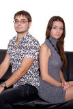 Funny Nerd Guy And Glamorous Girl Royalty Free Stock Image