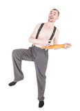 Funny nerd man having fun with rolling pin isolated Stock Images
