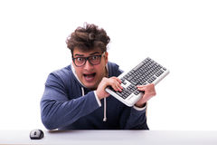 Funny nerd man working on computer isolated on white Royalty Free Stock Photography