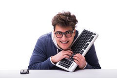 Funny nerd man working on computer isolated on white. Funny nerd man working on computer isolated Stock Images