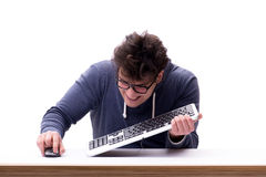 Funny nerd man working on computer isolated on white. Funny nerd man working on computer isolated Stock Image