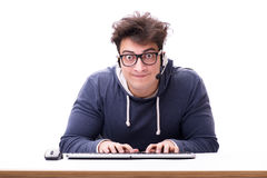 Funny nerd man working on computer isolated on white Royalty Free Stock Image