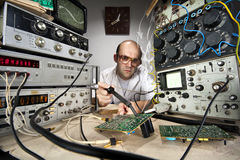Funny nerd scientist Stock Image