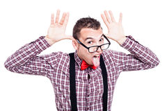 Funny nerd sticking out tongue Stock Photo