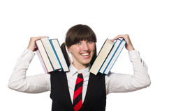 Funny nerd student isolated on white Stock Photography