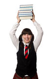 Funny nerd student isolated on white Stock Images