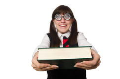 Funny nerd student isolated on white Royalty Free Stock Photos