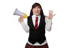 Funny nerd student isolated on white Royalty Free Stock Image