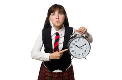 The funny nerd student isolated on white Stock Photography