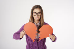 Funny nerd woman in the studio Royalty Free Stock Photo