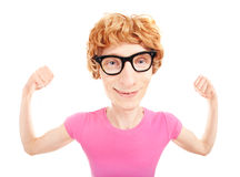 Funny nerdy athletee Royalty Free Stock Image