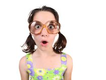 Funny Nerdy Girl Wearing Eyeglasses on White Backg Royalty Free Stock Images