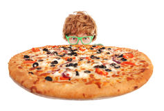 Funny nerdy guy. Hiding behind a pizza Royalty Free Stock Images