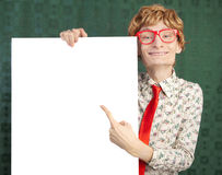 Funny nerdy guy. Funny guy with a blank card Royalty Free Stock Photos