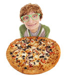 Funny nerdy guy. With a pizza Stock Photos