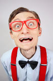Funny nerdy guy. Smiling funny guy wearing glasses Stock Photos
