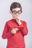 Funny nerdy little boy Stock Images