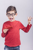 Funny nerdy little boy Stock Photo