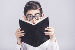 Funny nerdy little boy Stock Photography