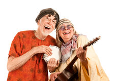 Funny New Age Couple. Funny New Age Senior Couple of Musicians royalty free stock photo