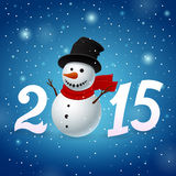 Funny New Year background. Funny New Year blue background with snowman Stock Photography